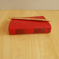 Red Leather pocket journal with green binding. Hand made book. Valentines Day