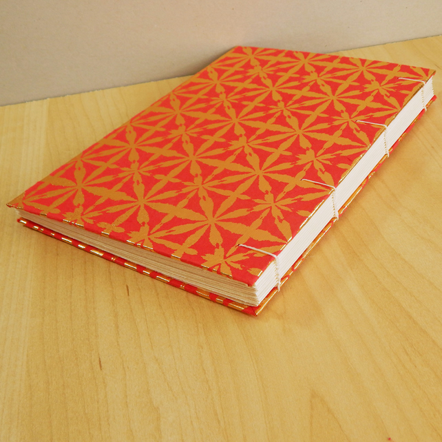 A5 Red and Gold Stars Journal, Notebook. Valentines Day gift. Hand made book