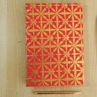 A5 Red and Gold Stars  Sketchbook, Journal, Notebook.