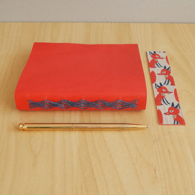 Red Leather Foxes pocket journal. Fox Notebook, Fox Journal. Hand made book.