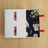 White Leather Snowman journal Notebook. Snowmen hand made book.