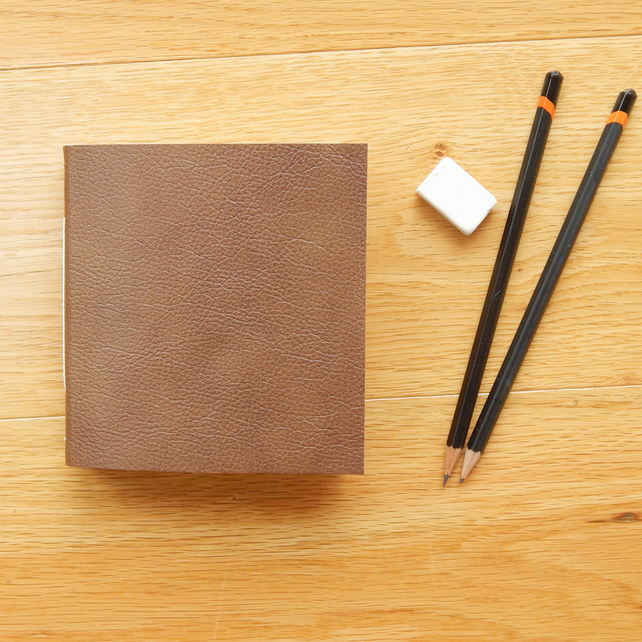 Hazelnut leather Pocket Sketchbook, Journal, Notebook - Fathers Day Gift