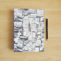 A5 Black and White Sketchbook Journal. Bookshop design covers.