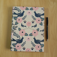 A5 Birds and Flowers Journal, Sketchbook. Secret Belgian Binding.