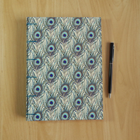 A5 Peacock Feather Sketchbook Journal. Secret Belgian Binding. Gifts for Artists