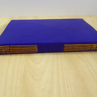 Purple Leather Journal with lined pages, botanical paper lining. Gifts for women