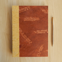 Hand Made Journal Sketchbook with Nepalese Leaf Pattern - Brown and Gold