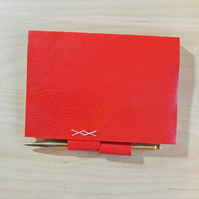Red Leather journal with pen holder. Hand made book with Florentine Paper