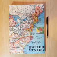 USA Map Journal, Notebook.  Lined pages. A4 large notebook.  Travel Journal.