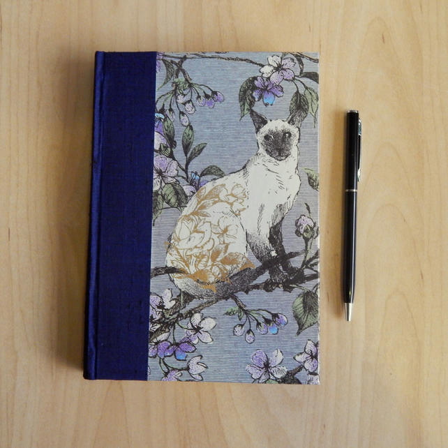 Siamese Cat Journal or Notebook with silk spine. Mothers Day Gift.