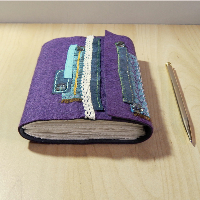Purple Felt Journal with hand embroidery - Gifts for Women, Christmas Gifts