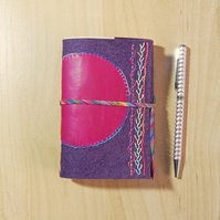 Purple Felt Journal with Pink Leather - Gifts for Mothers Day, Gifts for Women