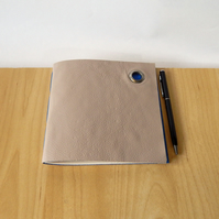 Grey Leather Notebook lined with blue handmade paper. Gifts for men, for artists