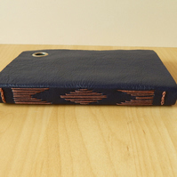 Navy Leather Journal Sketchbook with wrap cover.  Gifts for Men, for artists