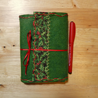 Felt Journal. Green Wool Felt with holly trim, hand embroidered. Christmas Gift