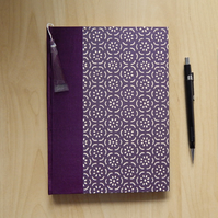 Damson Purple Journal or Notebook with silk spine. Gifts for Women Gifts for Men