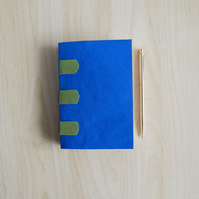 Blue & Green Leather Journal, Peacock Paper Lining. Gifts for Men, for women.
