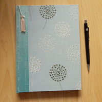 Dandelions Journal or Notebook with silk spine. Aqua blue. Gifts for Women