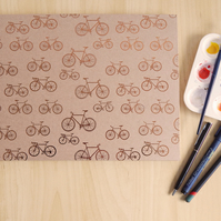 A4 Large Bicycles Sketchbook, Landscape. Gifts for Artists. Cycling Gifts