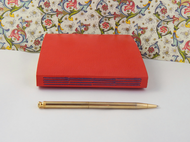 Coral Red Leather Journal, Notebook, Sketchbook with Florentine Paper lining