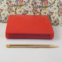 Coral Red Leather Journal, Sketchbook with Florentine Paper.