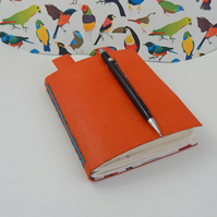 Birds Orange Leather Sketchbook Journal Notebook -  Gifts for Artists, for Teens
