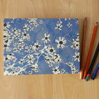 A5 Blue Marbled Watercolour Sketchbook : Gifts for Artists
