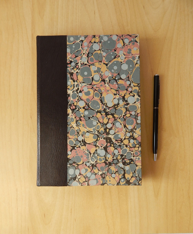 Marbled Journal With Leather Trim Hard Cover B Folksy