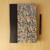 Marbled Journal with leather trim. Hard-cover book. Gifts for Writers, for Men