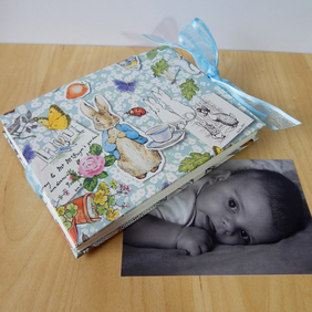 Baby Photo Album Peter Rabbit. New Baby, Baby Shower, Christening. Made to Order