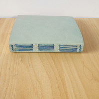 Pale Blue Leather Journal, Notebook, Sketchbook - Garden Birds Journal