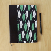 Black & Green Oak Leaf Journal with Leather Spine. Gifts for men, for women.