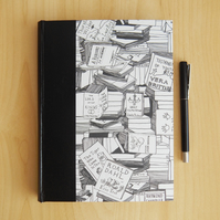 Bookshelves Black and White Journal. Hard-cover book. Gifts for Writers, for Men