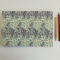 Sketchbook, Wedding Guest Book - Blue Willow Leaves, Coptic Binding.