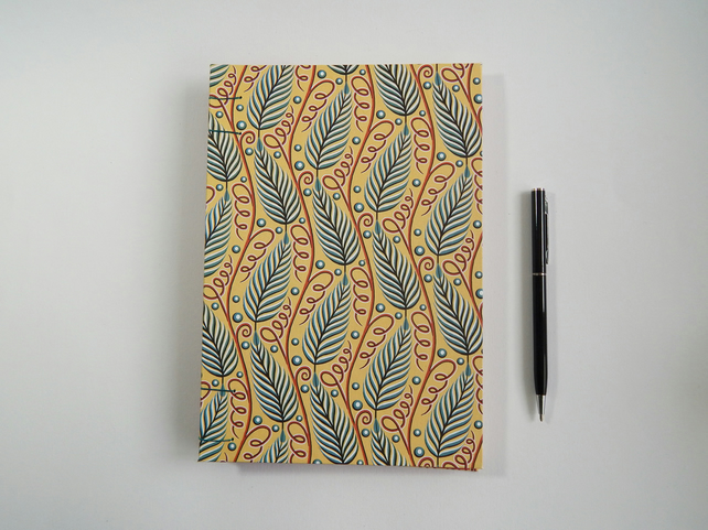 Leaf Pattern A5 Journal or Sketchbook.  Gifts for women, gifts for men