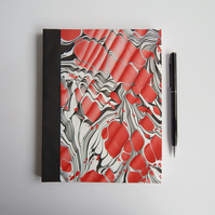 Red & Black Marbled Journal, Dotted Square pages. Gifts for Geeks, Gifts for Men