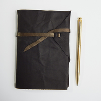 Brown Leather wrap cover Sketchbook with Artists' Signatures. Gifts for Artists
