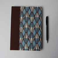 Geometric Blue & Coffee Brown squared paper Journal. Gifts for men, for Geeks