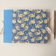 Blue Ibis A5 Photo Book, Silk Trim. Luxury Guest Book, Baby Shower, Memory Book