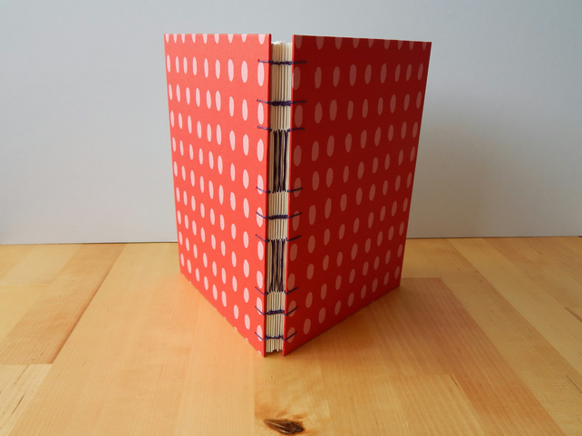 Artists A5 Sketchbook or Journal, red & pink spot. Gifts for Artists.