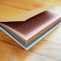 "Rainbow Pastel Notebook - 4"" x 6"" brown kraft cover notebook with rainbow pages"