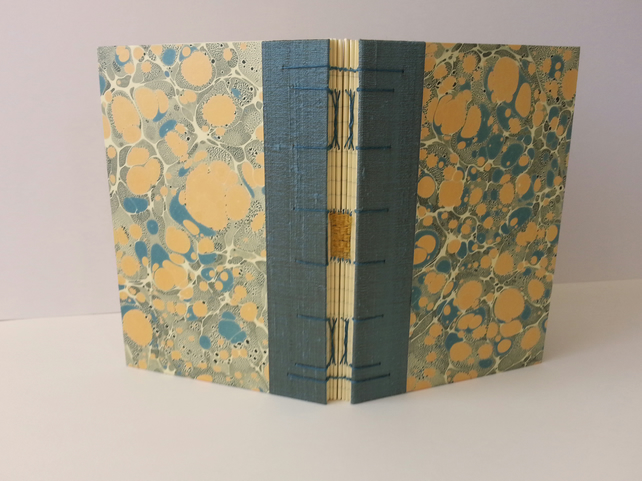 Marbled Journal, Blue & Yellow with silk trim. Lined pages. Gifts for Writers.