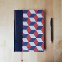 Navy and Red A5 Journal with leather trim. Squared Paper Journal. Gifts for Men