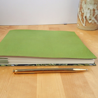 Green Leather Sketchbook, Art Journal - Song Thrushes. Gifts for Artists