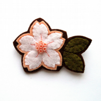 SALE: White Cherry Blossom, felt flower brooch