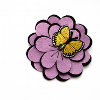 Sale: Butterfly Flower Brooch, yellow and lilac