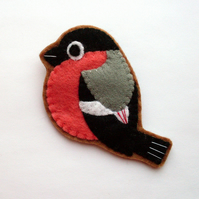 SALE: Bullfinch, Felt Bird Brooch