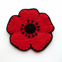 SALE: Red Poppy Brooch, medium