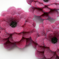Large Plum Corsage, beaded felt flower brooch