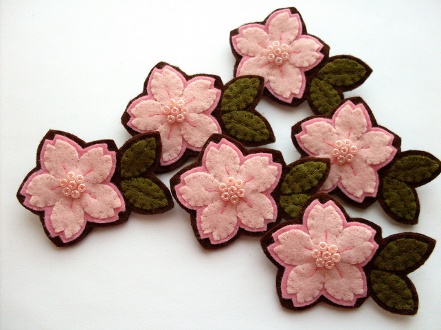 Pink Cherry Blossom, felt flower brooch